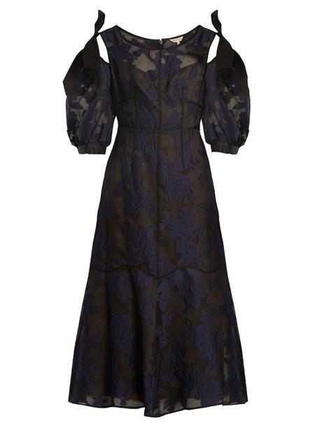 dress midi dress cut-out midi floral black