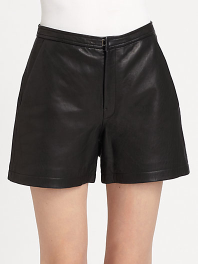 BLK DNM - Leather High-Waisted Shorts - Saks.com
