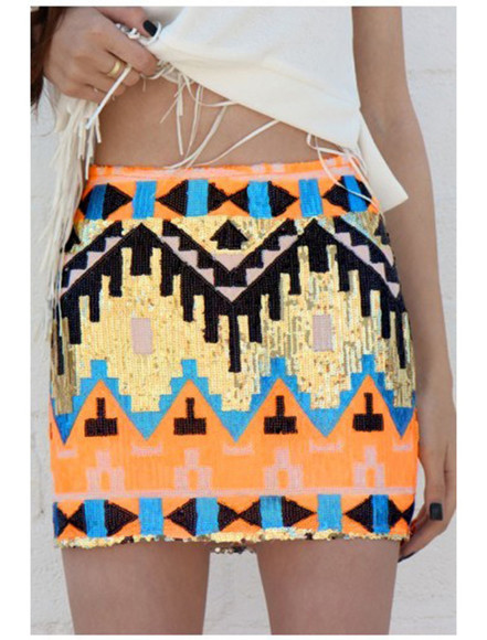 skirt aztec skirt tribal skirt sequin skirt ici fashion neon skirt summer skirt neon orange, summer, spring, a-line skirt