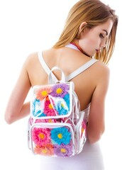 bag,pu daisy flower beach bag,clear hologram mini backpack