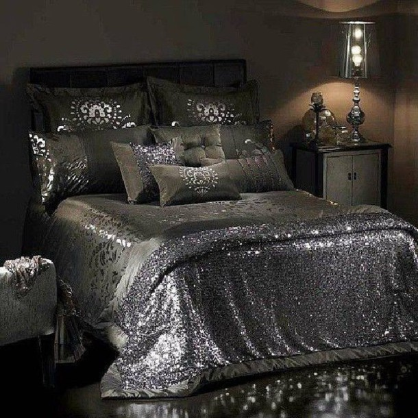 Dress Sheets Bedding Sequins House Details Silver Glitter Glittery Girly Shiny