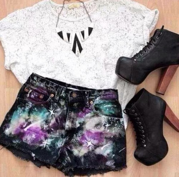 shirt shoes jewels shorts galaxy print purple