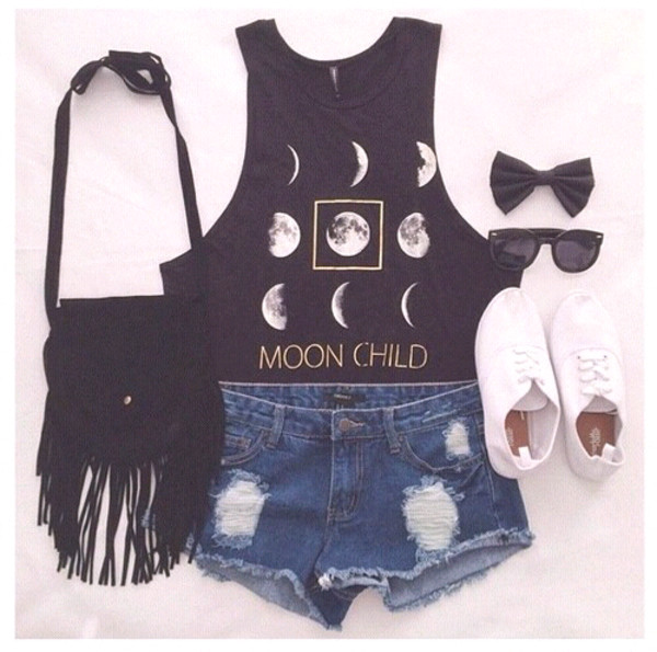 leggings hair accessory top grunge crop tops moon tank top brandy melville teen wolf moon cycle black boots denim shorts bag shoes tassel boho boho chic