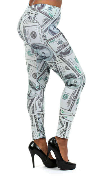 Money $100 Hundred Dollar Benjamin Leggings Plus at Jolie Styles