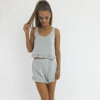shorts matching set set grey set grey shorts grey crop top frill ruffle shorts and crop set cute set cute grey shorts