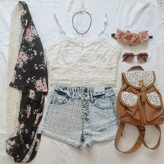 blouse shorts sweater bag
