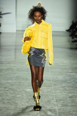 skirt jacket yellow runway fashion week 2016 ny fashion week 2016