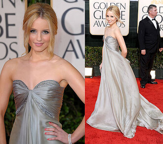 maxi red carpet dianna agron glee grey dress dress