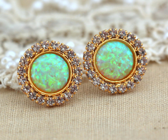 Yellow green Opal stud earrings with white rhinestones by iloniti