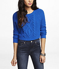 CROPPED MIXED STITCH CREW NECK SWEATER | Express