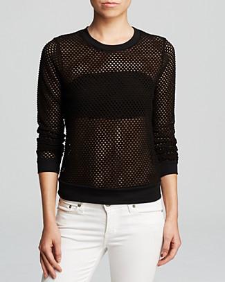 AQUA Sweatshirt - Fishnet Eyelet | Bloomingdale's