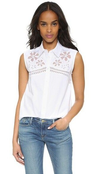 shirt sleeveless embroidered floral white bright top