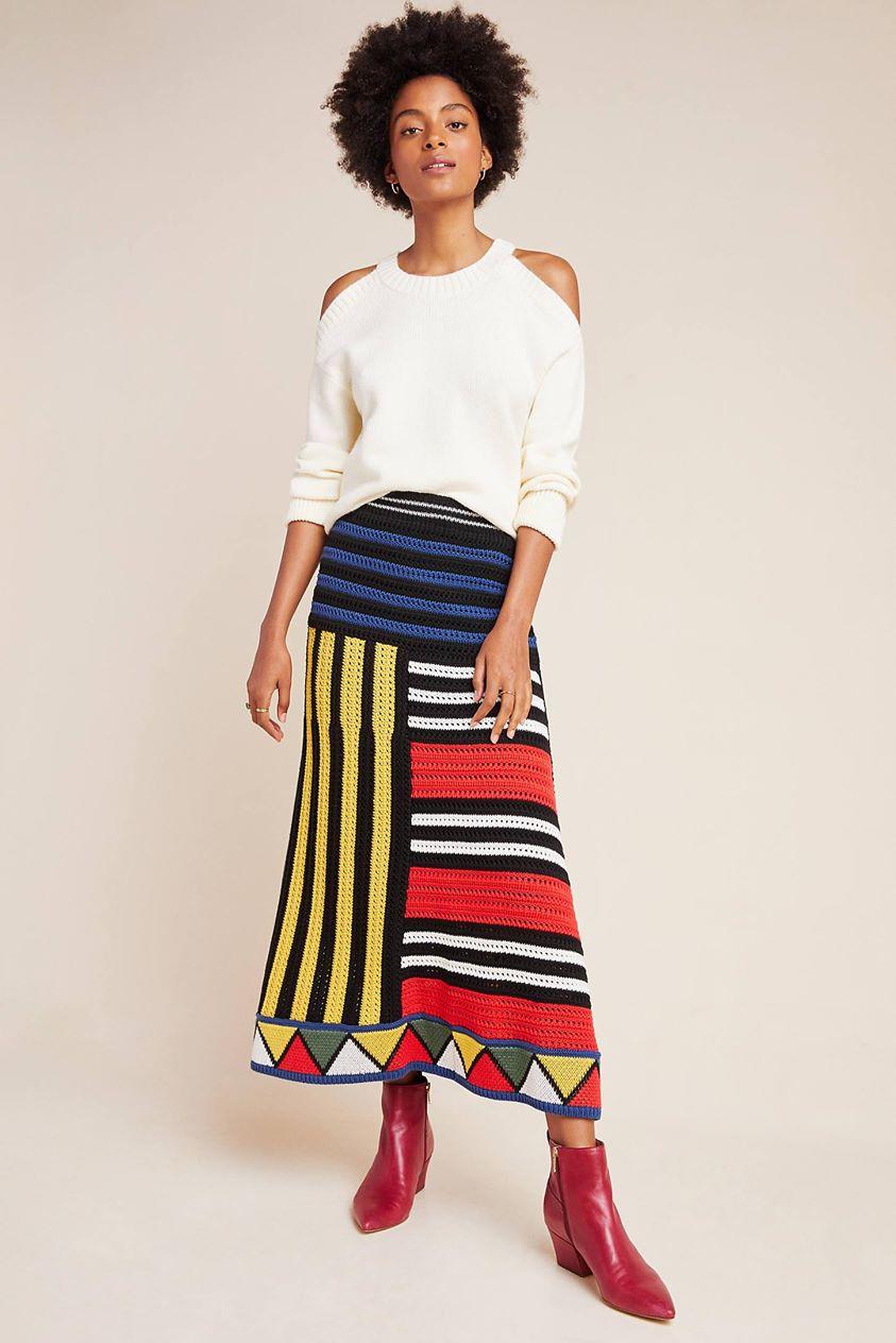 Farm Rio Miro Sweater Midi Skirt by in Assorted