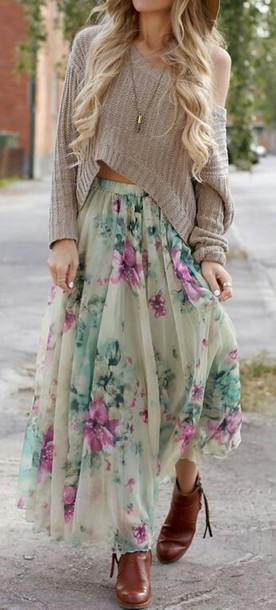 skirt sweater cropped sweater summer top blouse floral skirt green pink purple flowers style summer skirt girly flowered shorts fashion crop maxi maxi skirt floral flowers outfit blonde hair boho floral midi skirt pleated midi skirt midi skirt shirt