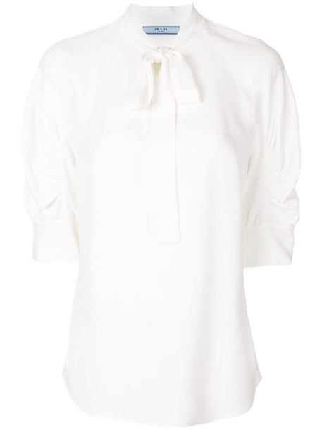 blouse bow women white top