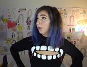 sweater,sweatshirt/sweater,gabbie show,black,vampire,mouth,cut-out