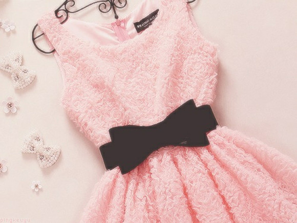 dress mini pink dress cute dress black bow belt pink bow light pink dress pink, dress, belt, pretty, sleeveless flowers