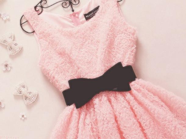 Dress pink dress black bow belt pink bow light pink dress mini cute dress flowers pink Pink fashion and style pink dress