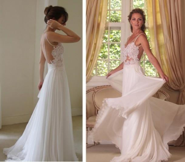 Buy 2015 beach wedding dresses chiffon a line chiffon backless lace long bridal gown deep v neck sleeveless wedding gowns sweep train, $124.02