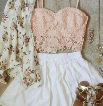 tank top bandeau jacket blouse shorts sandals peach floral flower gold white green cardigan skirt