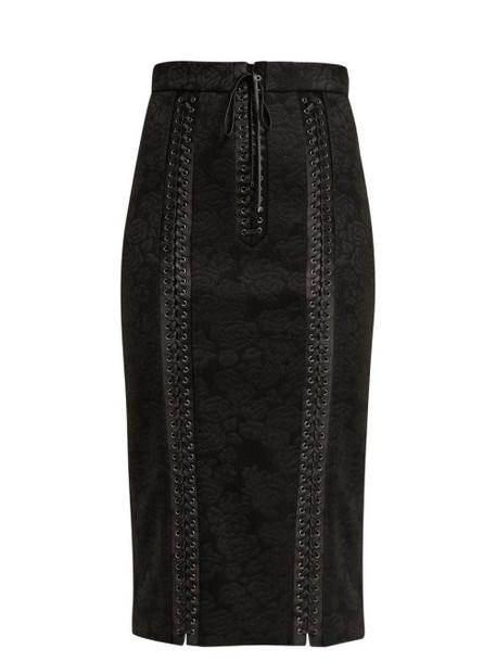 Dolce & Gabbana - Jacquard Floral Pencil Skirt - Womens - Black