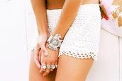 crochet,shorts,white shorts,jewels