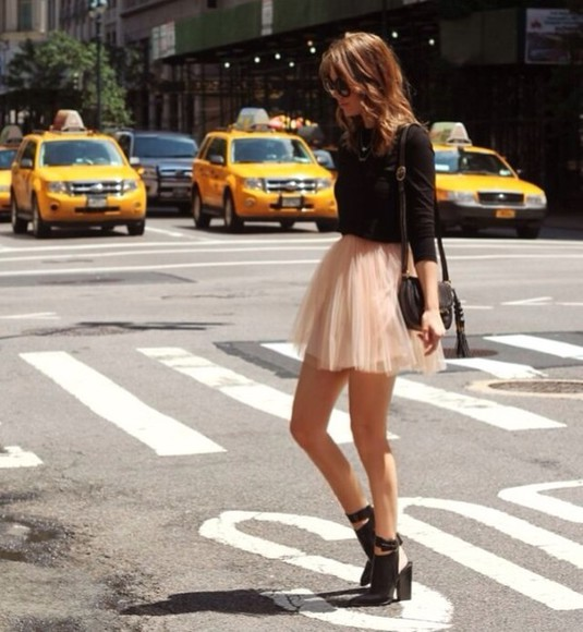 skirt tutu pretty pink cute nude model pink ballet skirt black long sleeve shirt black shoulder bag black heels shirt bag shoes