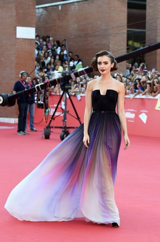 dress elie saab lilly collins fashion black dress colorful dress prom dress celebrity style lily collins white dress purple dress awesome dress cute dress red carpet dress black and white dress lilly collins dress