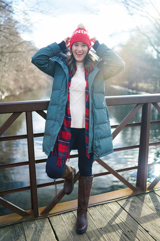 covering bases curvy blogger down jacket winter boots pom pom beanie tartan scarf