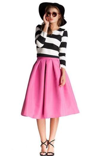 striped dress two piece dress set black and white striped crop top pink skirt pink midi skirt pink skater skirt www.ustrendy.com