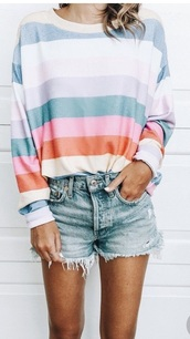 shirt,stripes,long sleeves,blue,pink,pastel,pinterest,it is on pinterest,blouse
