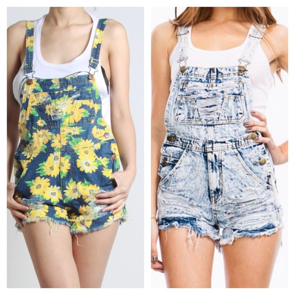 ACID WASH DISTRESSED RIPPED DENIM JEANS CUT OFF SHORTS OVERALLS ROMPER overall