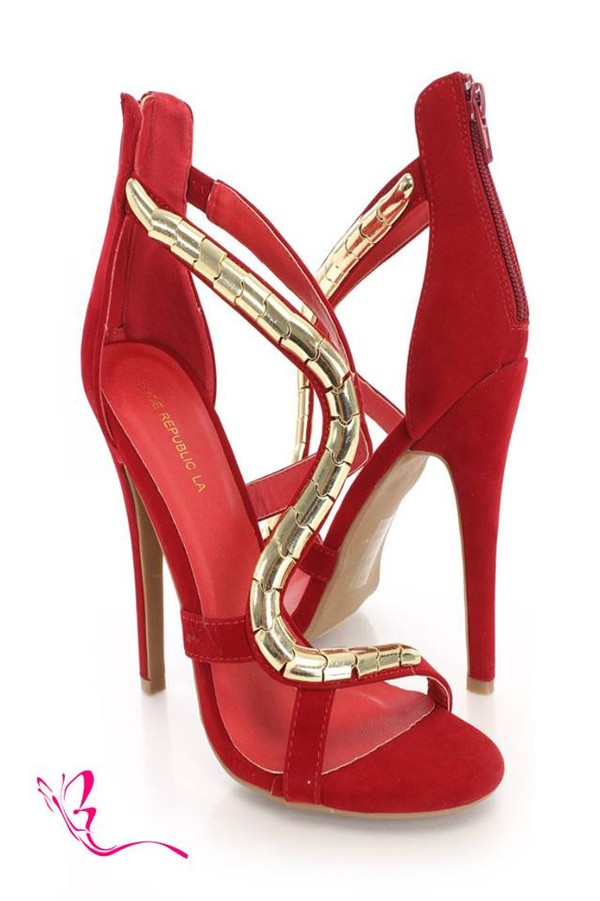shoes red and gold heels
