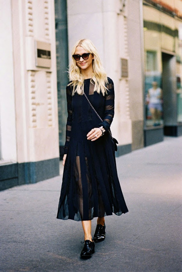 vanessa jackman blogger fall outfits black boho see through dress stripes oxfords