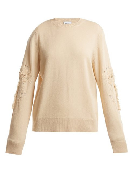 Barrie - Timeless Distressed Sleeve Cashmere Sweater - Womens - Beige