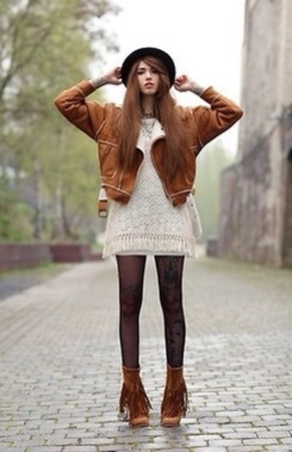 dress white boots cute tights