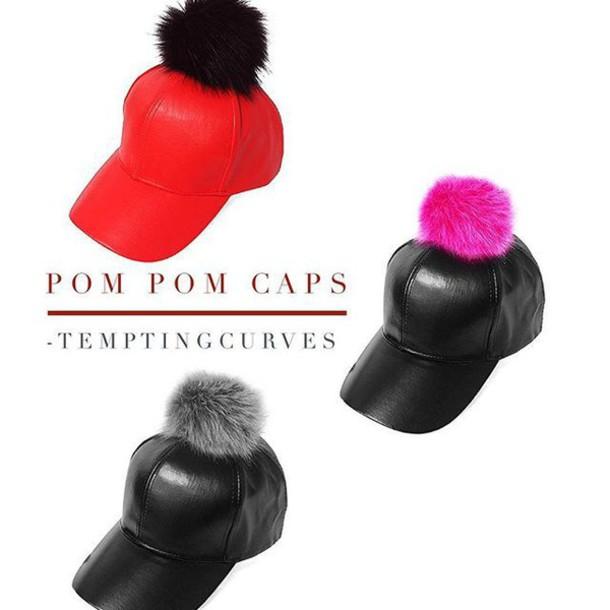 5e99454f454 hat temptingcurves boutique pompom hat pom poms leather pink grey pom pom  beanie pompom shorts leather