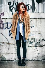 le happy,shirt,t-shirt,coat,pants,sunglasses,camel fluffy coat,fur coat,brown