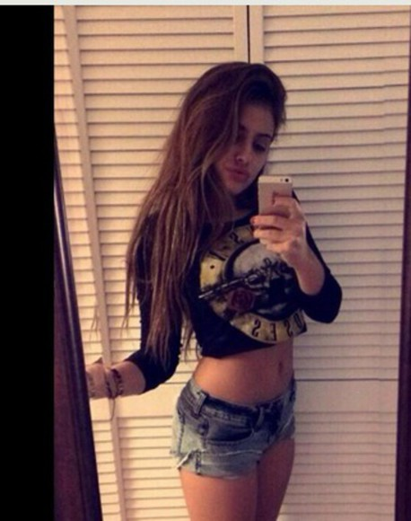 guns and roses princess lauren crop tops cut offs