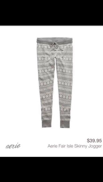 pants fair isle ae heather grey knitted