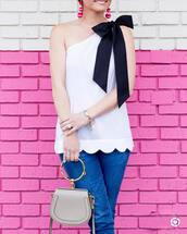 top,bag,tumblr,white top,one shoulder,scalloped,handbag,grey bag,denim,earrings,accessories,Accessory,accent earrings,jewels