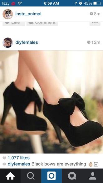shoes black heels bow high heels