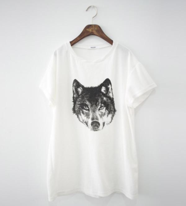 shirt white wolf t-shirt t-shirt graphic tee