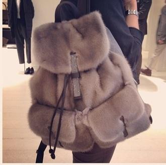 bag fur backpack soft