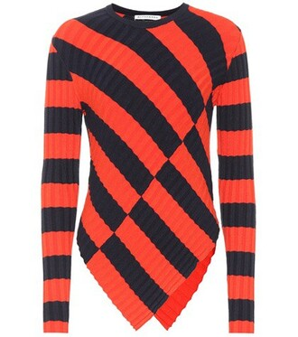 sweater striped sweater red