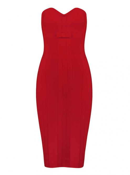Red Strapless Bandage Dress With Bow H943$119