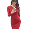 Women's formal lace-up back bodycon midi dress