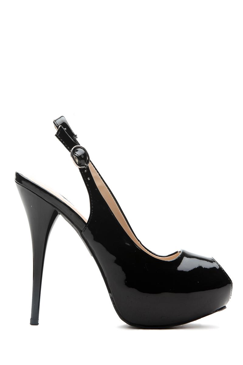 black faux patent sling back peep toe heels cicihot heel shoes online