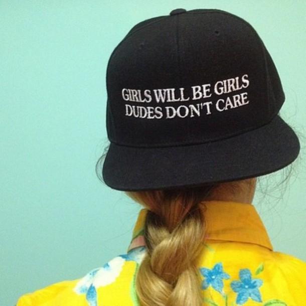 hat black black cap girls will be girls dudes don't care