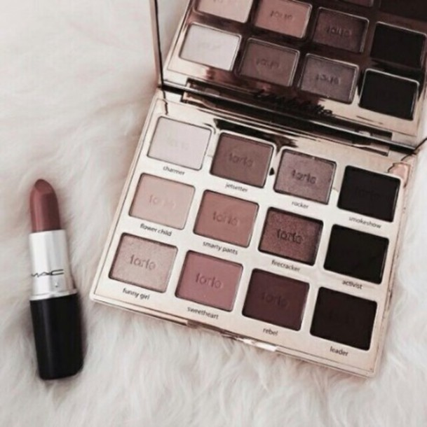 make-up nude sexy gold black pink makeup palette cute gold brown tarte mac cosmetics mac lipstick
